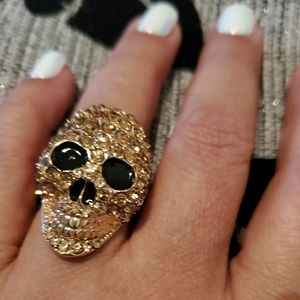 Tone Gold and Crystal Skull Adjustable Size Ring